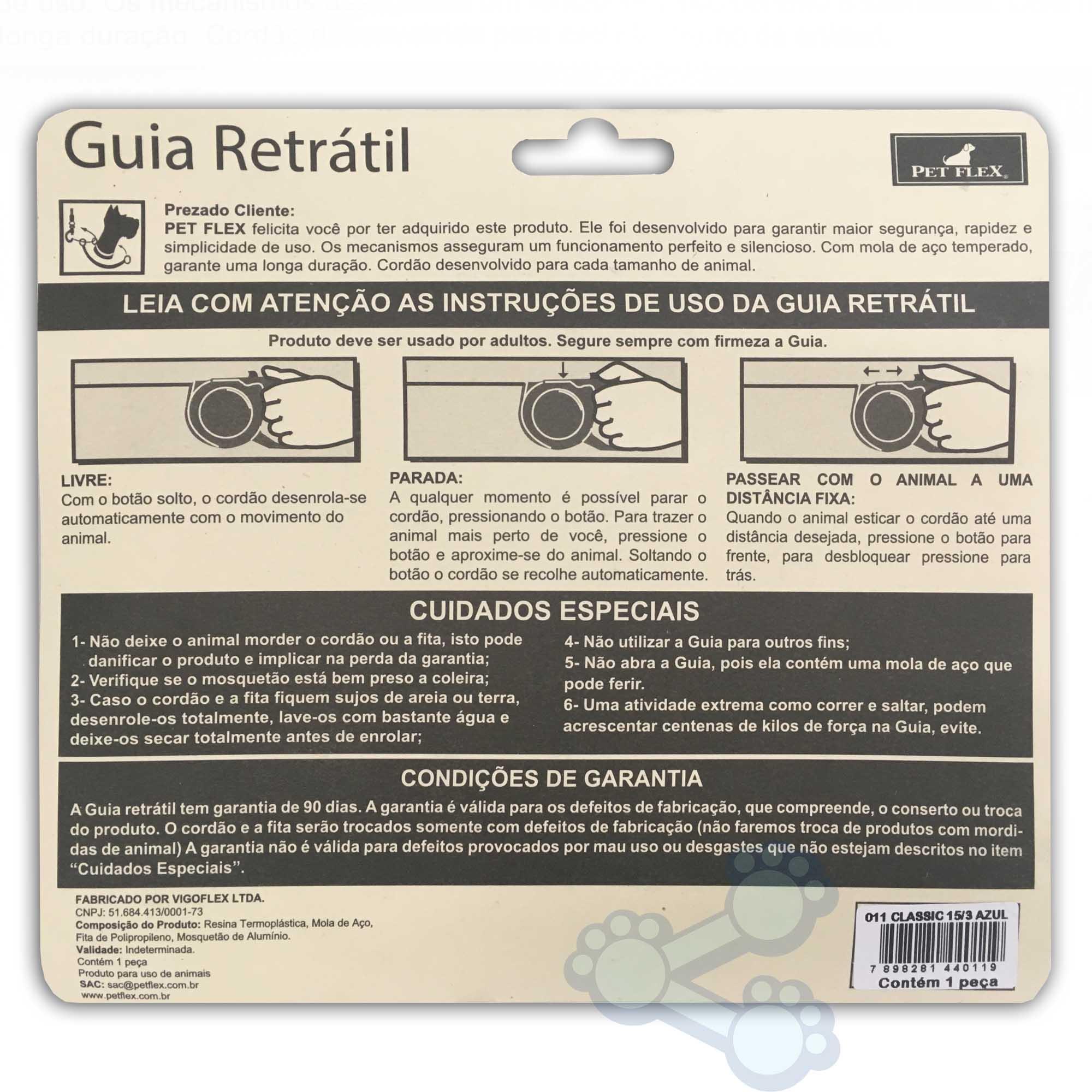 Guia Retrátil Automática Pet Flex Clássica 15Kg / 3m