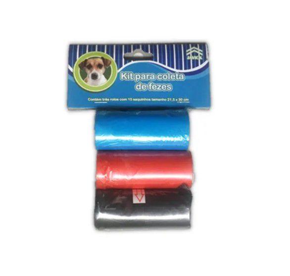 Kit Refil sacolas higiênicas com 3 rolos cada - Refil cata caca