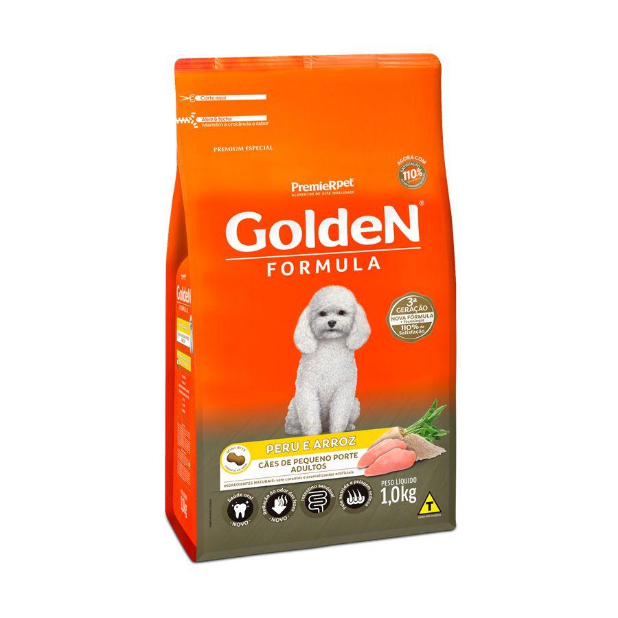 Ração Fórmula Golden para Cães Adultos de Porte Pequeno sabor Peru e Arroz 1Kg