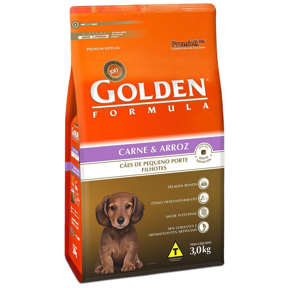 Ração Golden Fórmula Mini Bits Para Cães Filhotes Raças Pequenas Sabor Carne e Arroz 1Kg