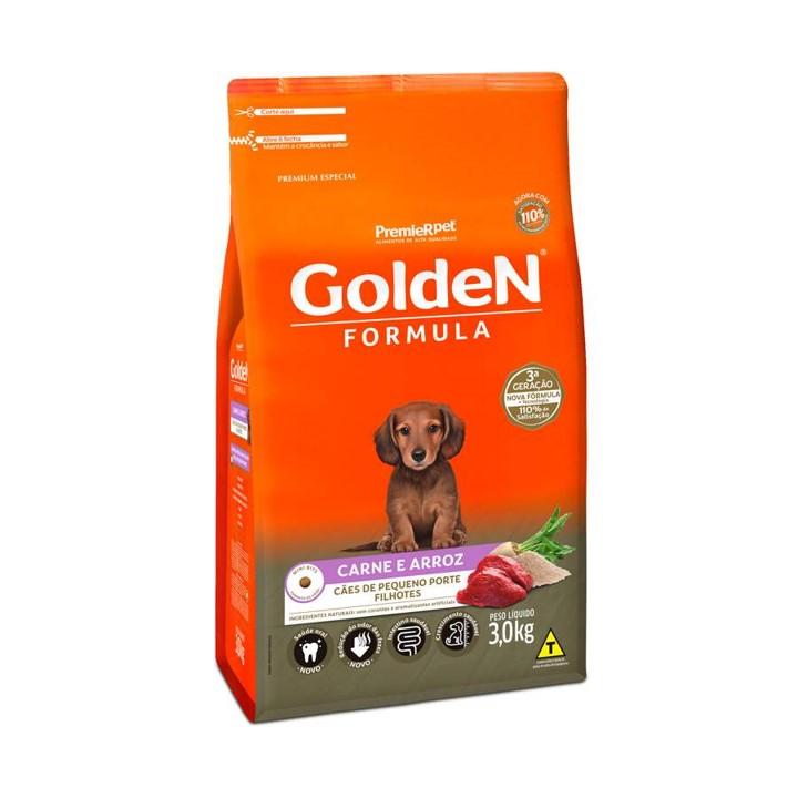 Ração Golden Fórmula Mini Bits Para Cães Filhotes Raças Pequenas Sabor Carne e Arroz 3Kg
