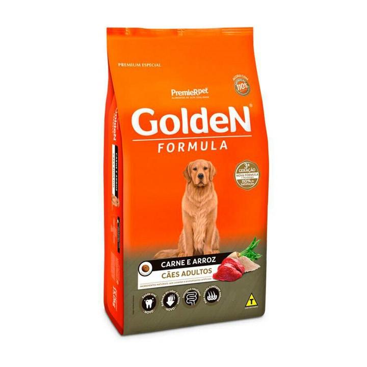 Ração Golden Fórmula para Cães Adultos Médio e Grande porte Sabor Carne e Arroz 3kg.