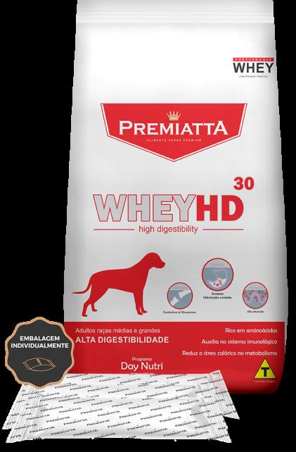 Ração Premiatta WheyHD 30 Alta Digestibilidade para Cães Adultos 2.8Kg - 7pcts de 400g