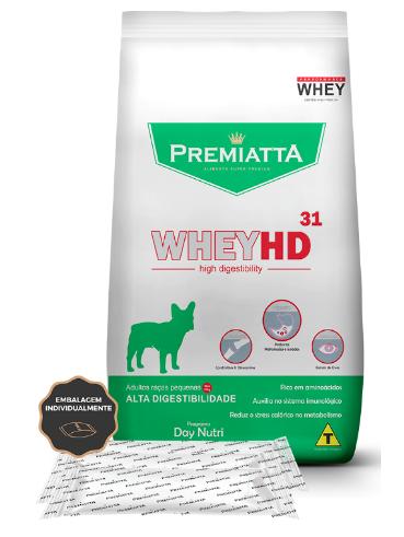 Ração Premiatta WheyHD 31 Alta Digestibilidade para Cães Adultos de raças pequenas 3Kg - 15pcts de 200g