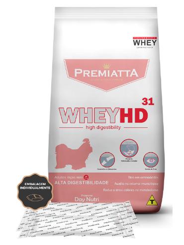 Ração Premiatta WheyHD 31 Alta Digestibilidade para Cães Adultos de raças Minis 3Kg - 30pcts de 100g