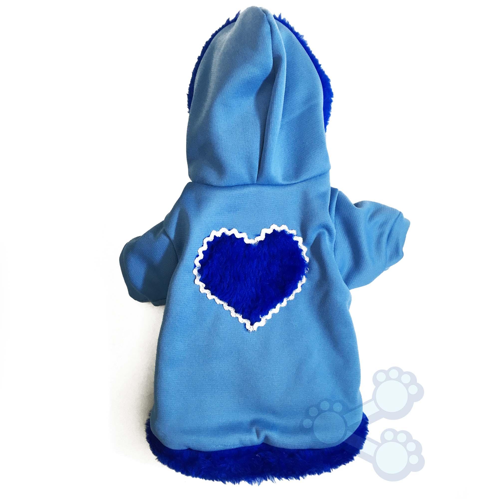 Roupinha de Inverno para Cachorro Cães Blusa com Capuz Azul