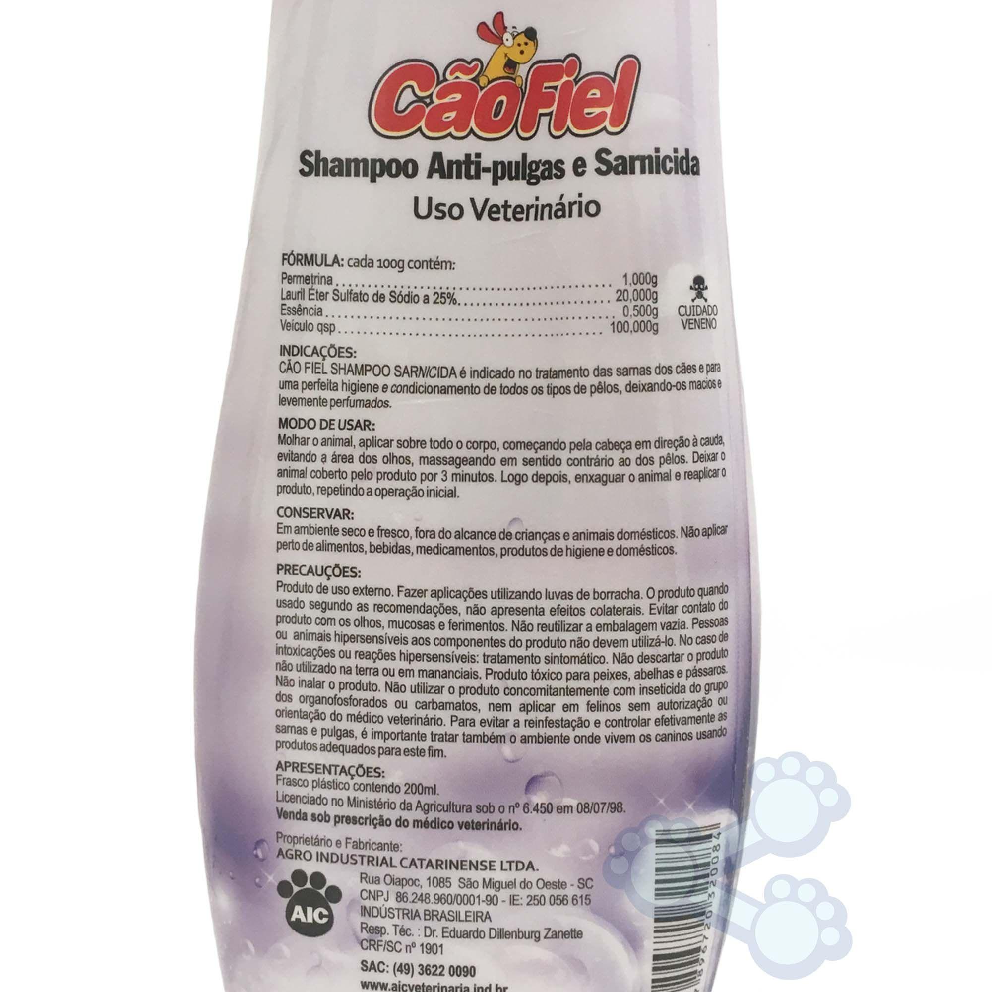 Shampoo Sarnicida e Anti-Pulgas Cão Fiel 200ml