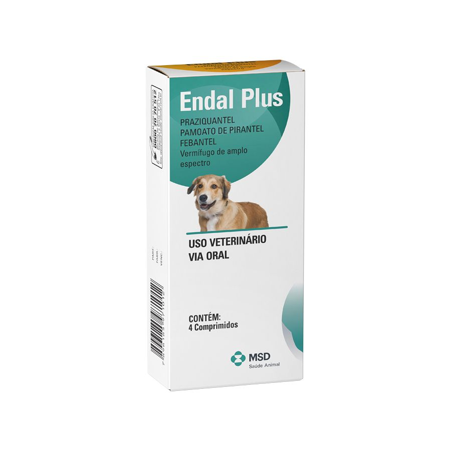 Vermífugo MSD para Cães Endal Plus 4 Comprimidos