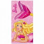 Toalha de Banho Barbie Felpuda Infantil Sereia Rosa