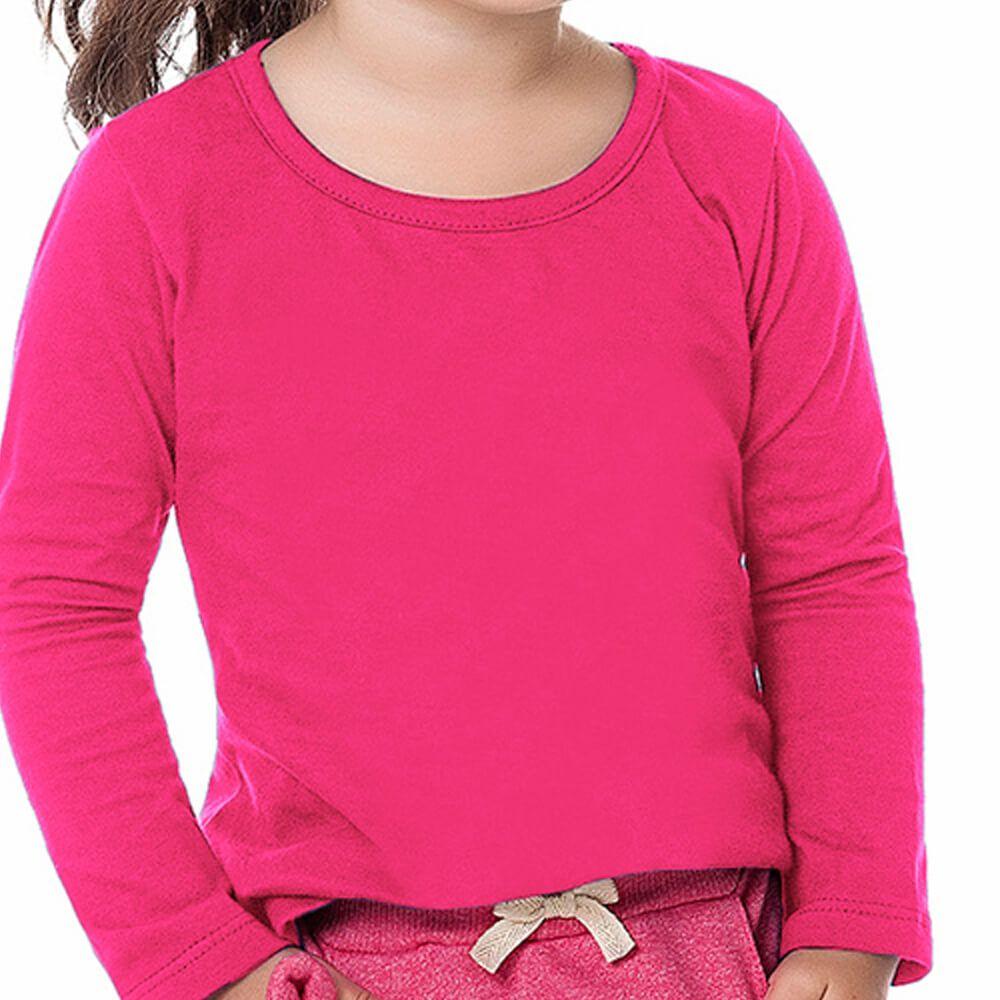 Blusa Bebê Menina Manga Longa Básica Rosa
