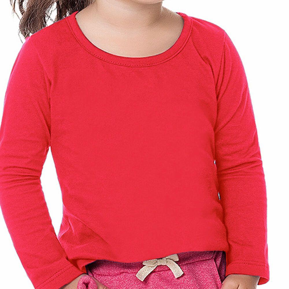 Blusa Bebê Menina Manga Longa Básica Vermelha