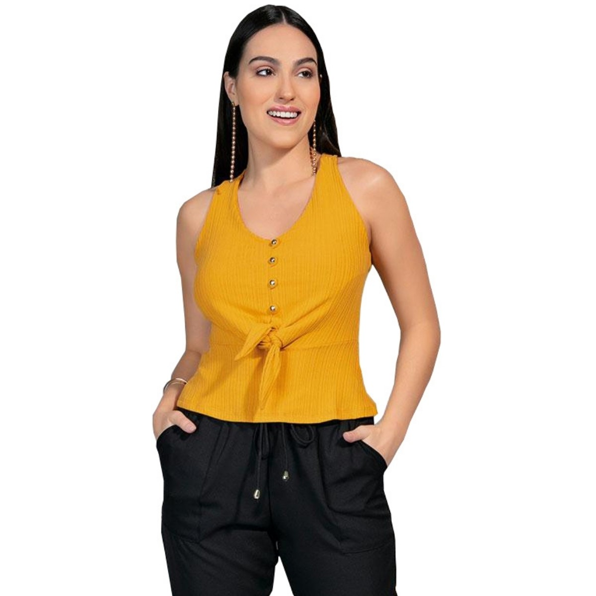 Blusa Canelado com Botão e Amarração