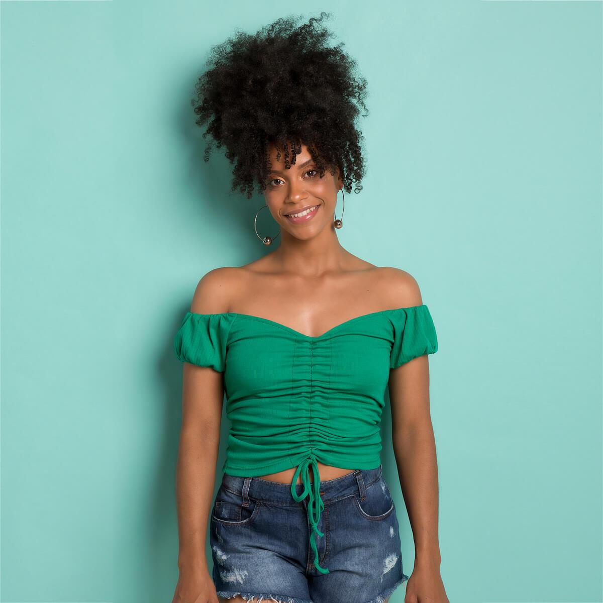 Blusa Ciganinha Feminina Canelada Franzida Verde