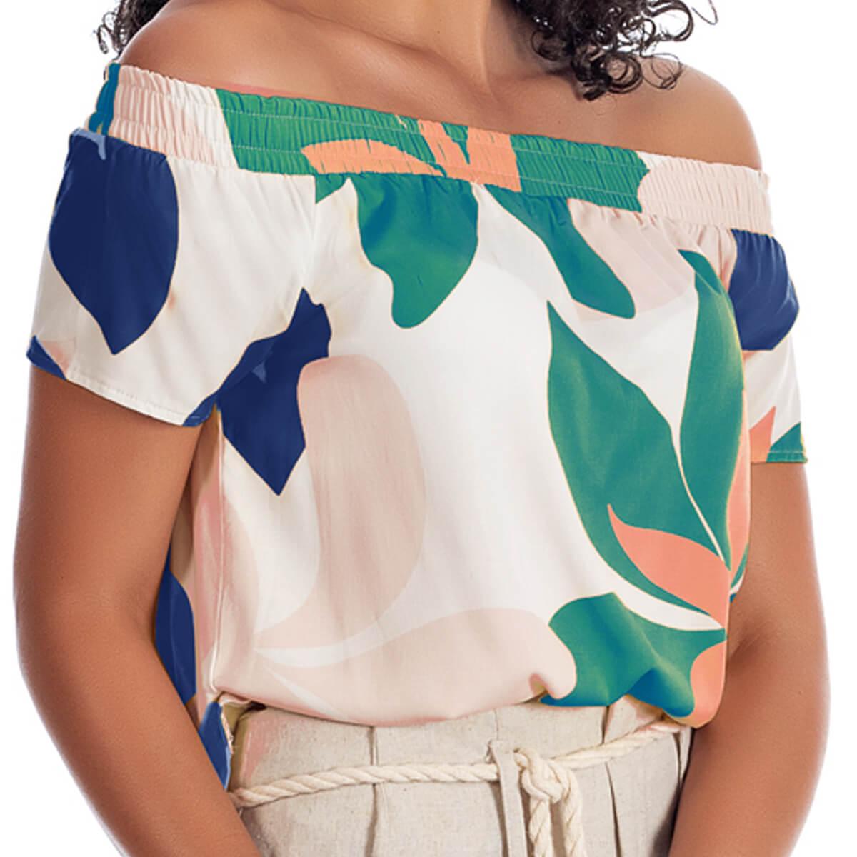 Blusa Ciganinha Feminina Viscolycra Floral Verde