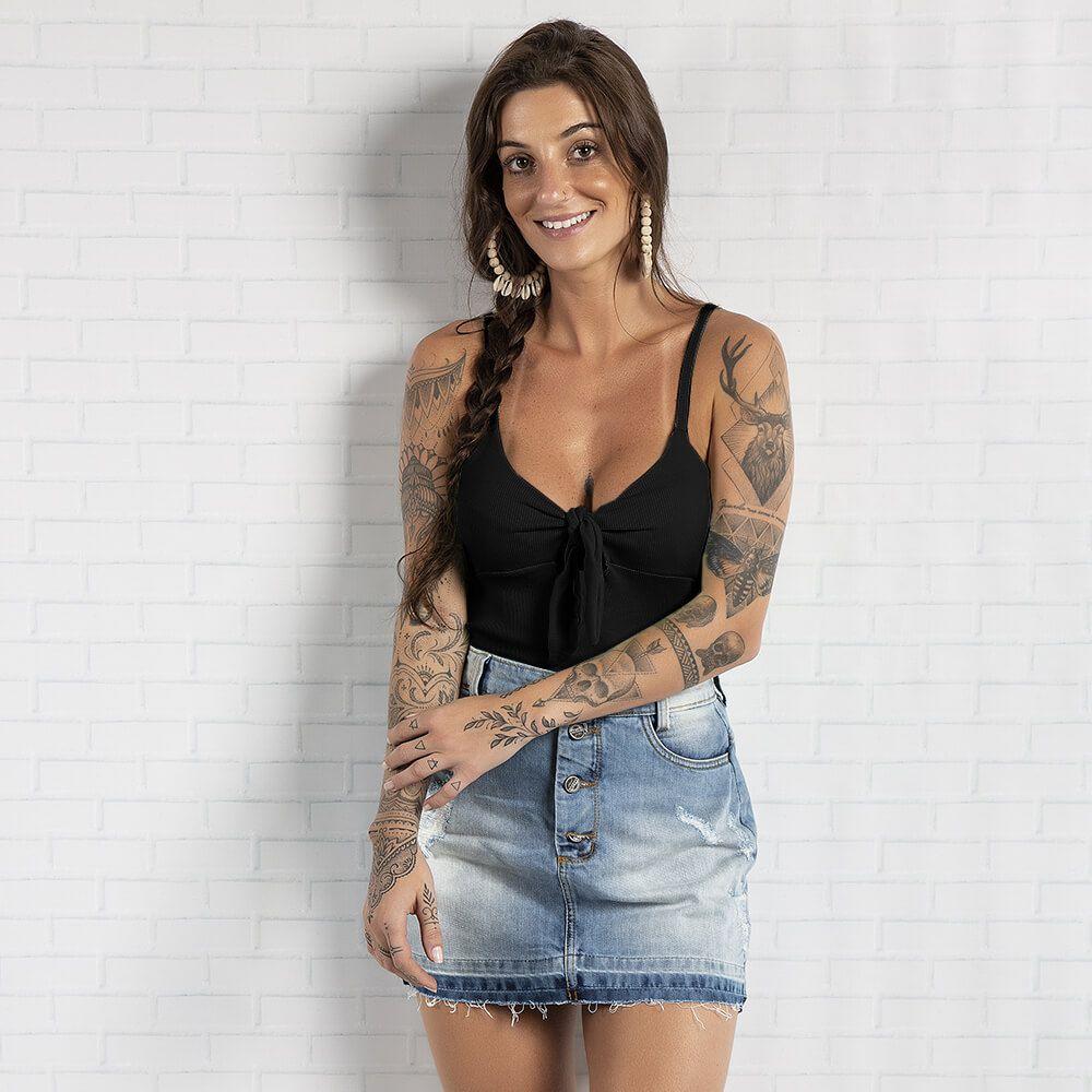 Blusa Feminina Alça Ribana Preta