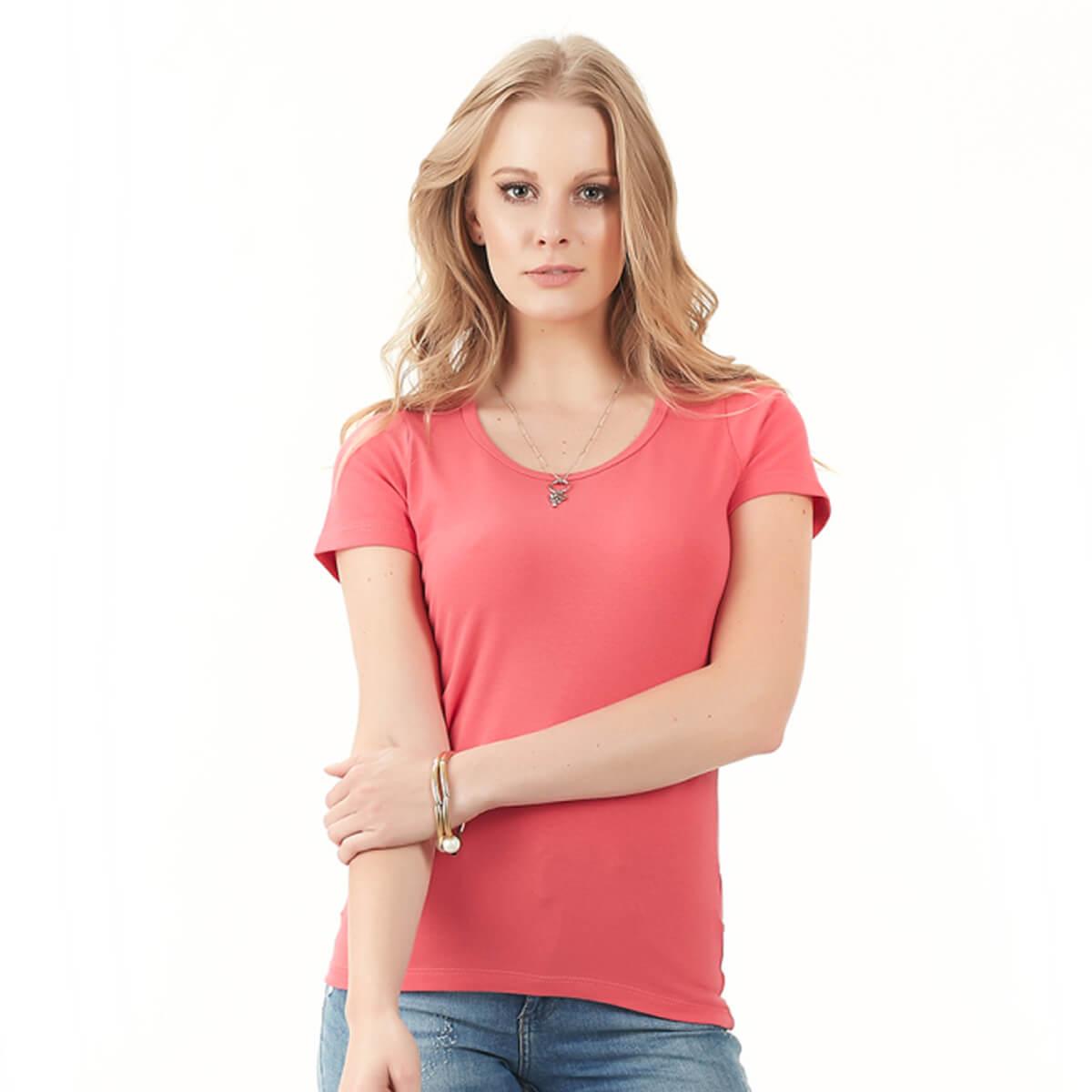 Blusa Feminina Básica Comfort Coral