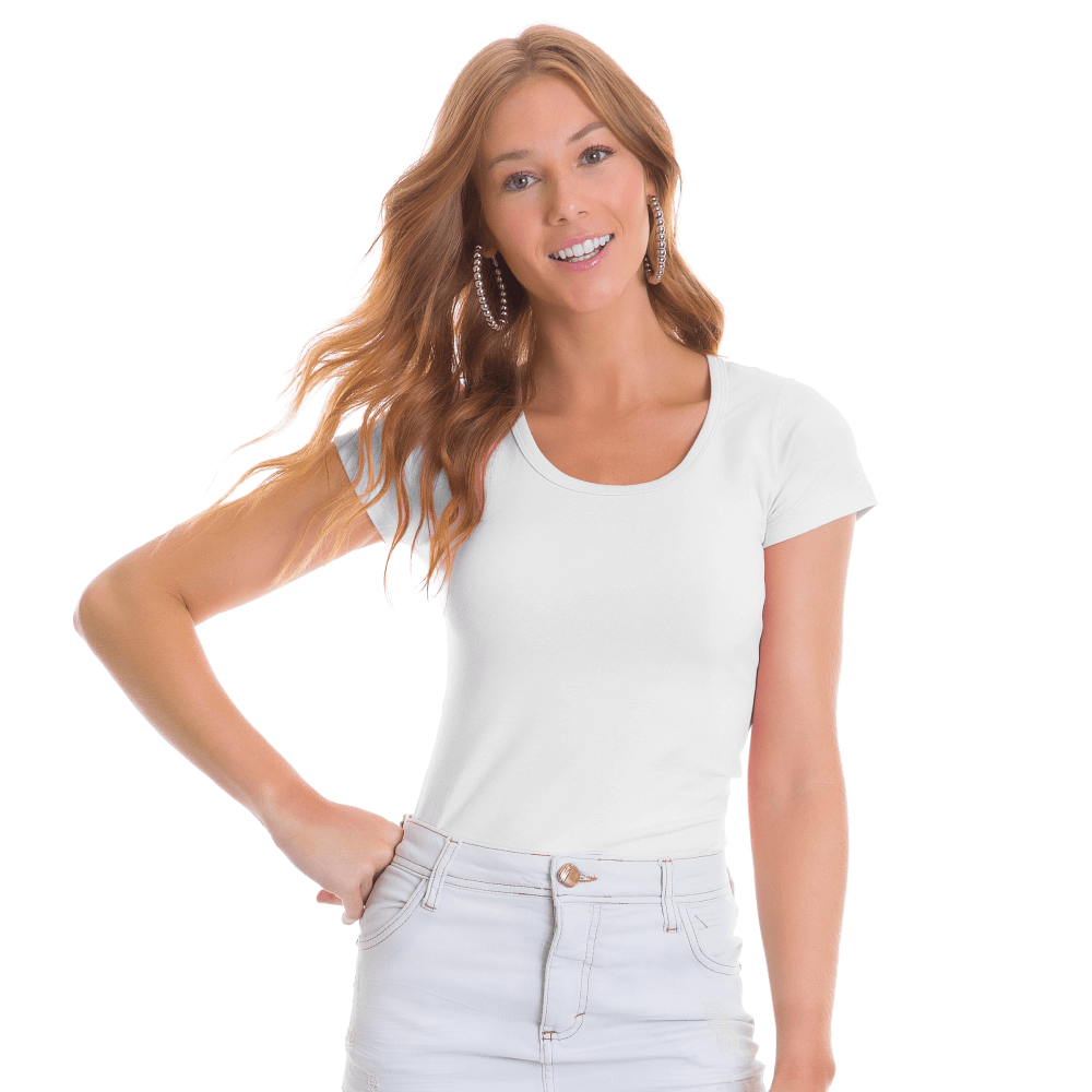 Blusa Feminina Básica Gola Careca Branca