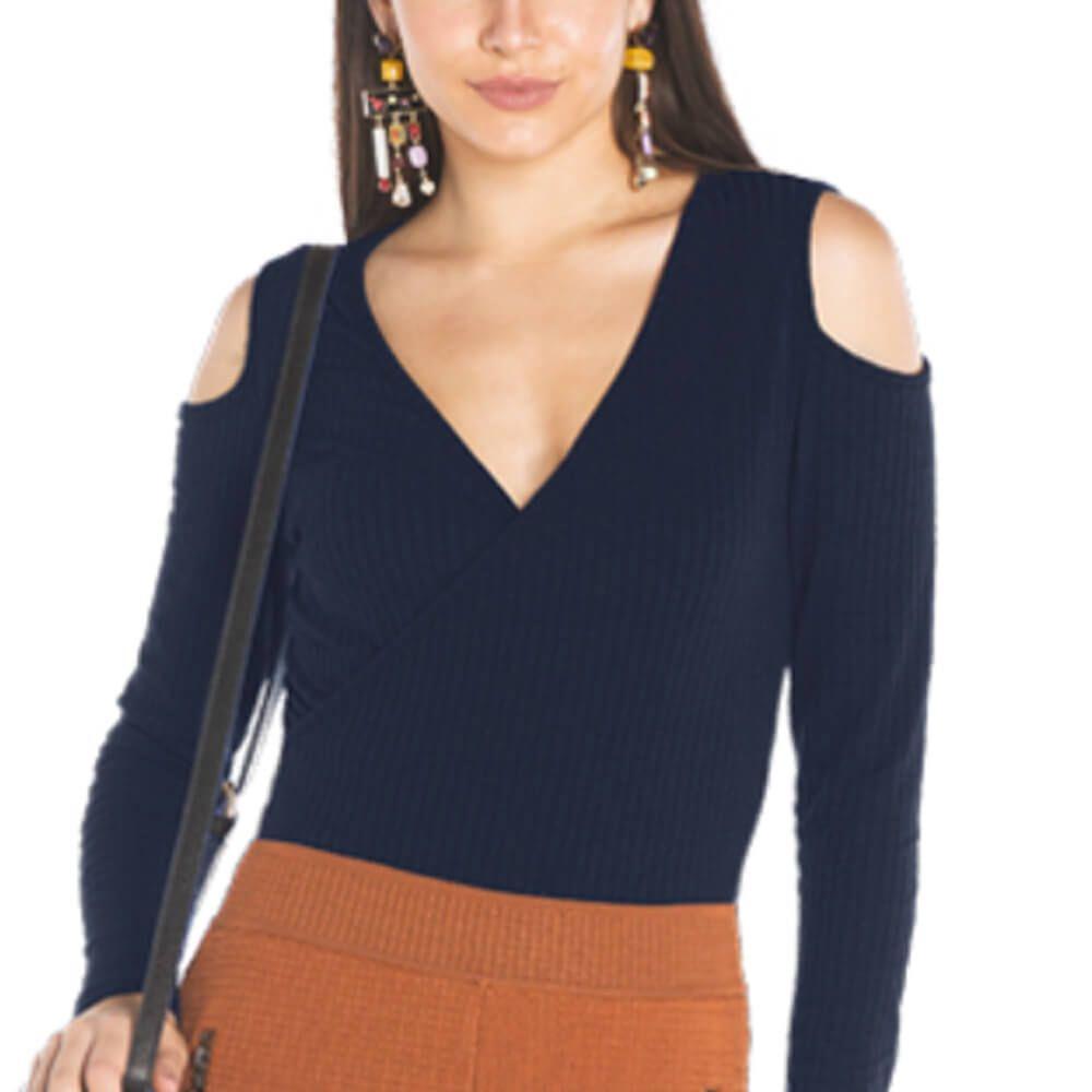Blusa Feminina Canelada Decote V Ombro Vazado Marinho