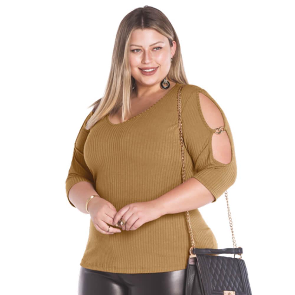 Blusa Feminina Canelada Plus Bege