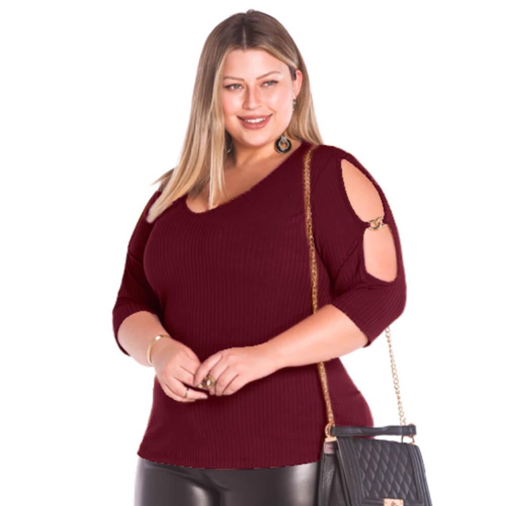 Blusa Feminina Canelada Plus Vinho