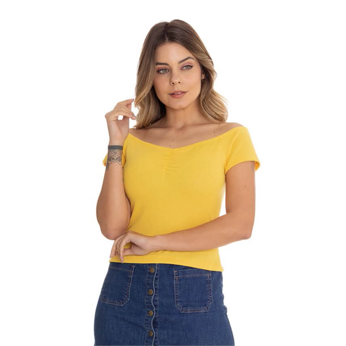 Blusa Feminina Cetim Canelada Ombro a Ombro Amarela