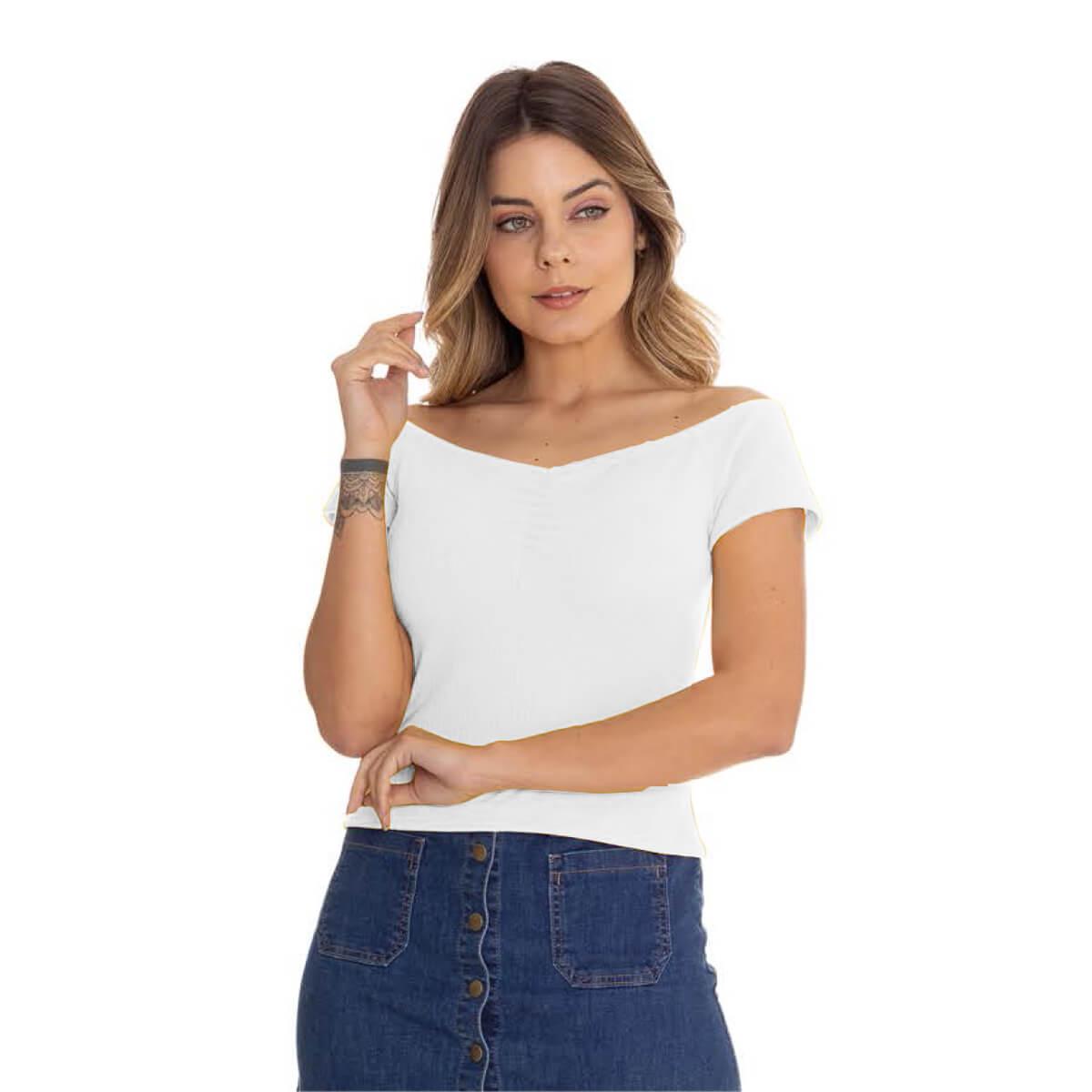 Blusa Feminina Cetim Canelada Ombro a Ombro Branca