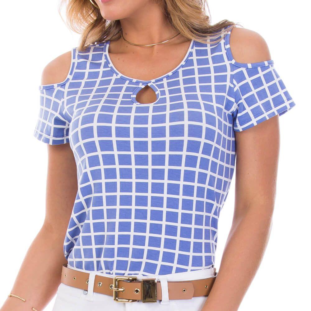 Blusa Feminina Estampa Geométrica Azul