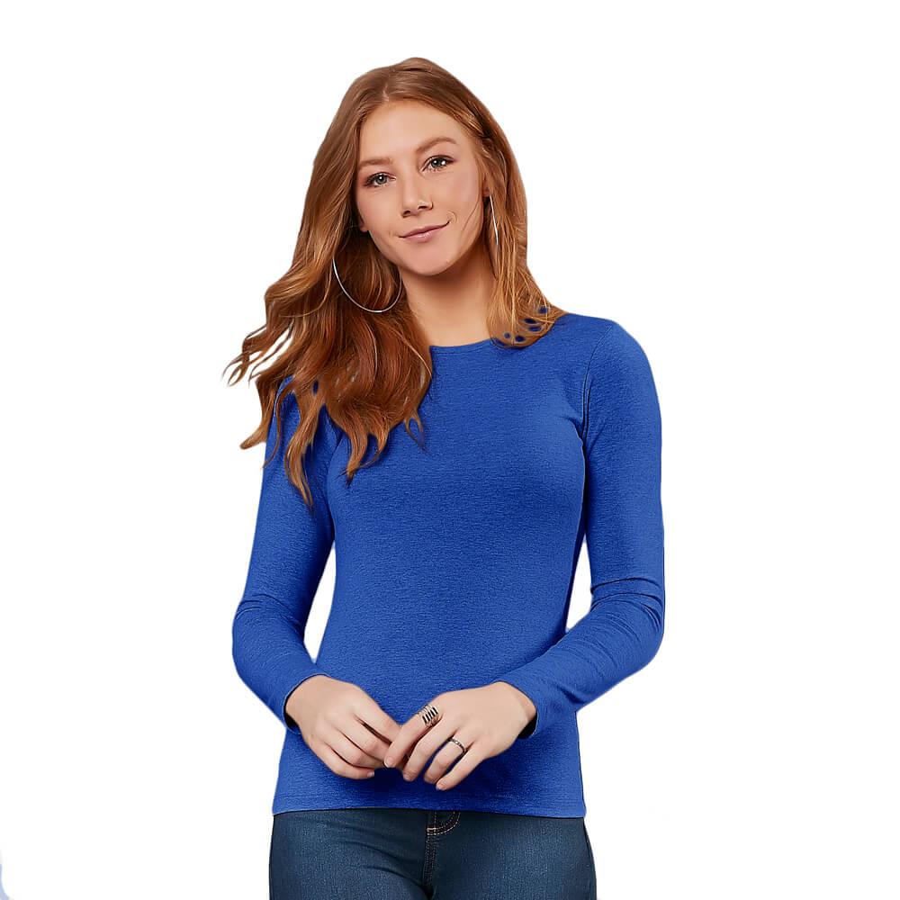 Blusa Feminina Manga Longa Gola Careca Azul