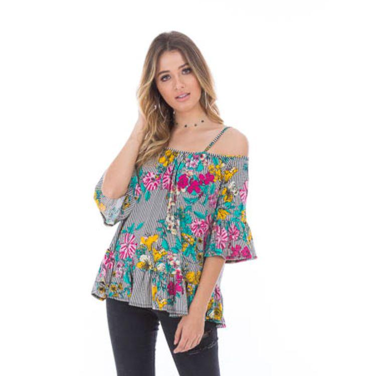 9d748ce7b1 Blusa Feminina Ombro a Ombro Alça Floral
