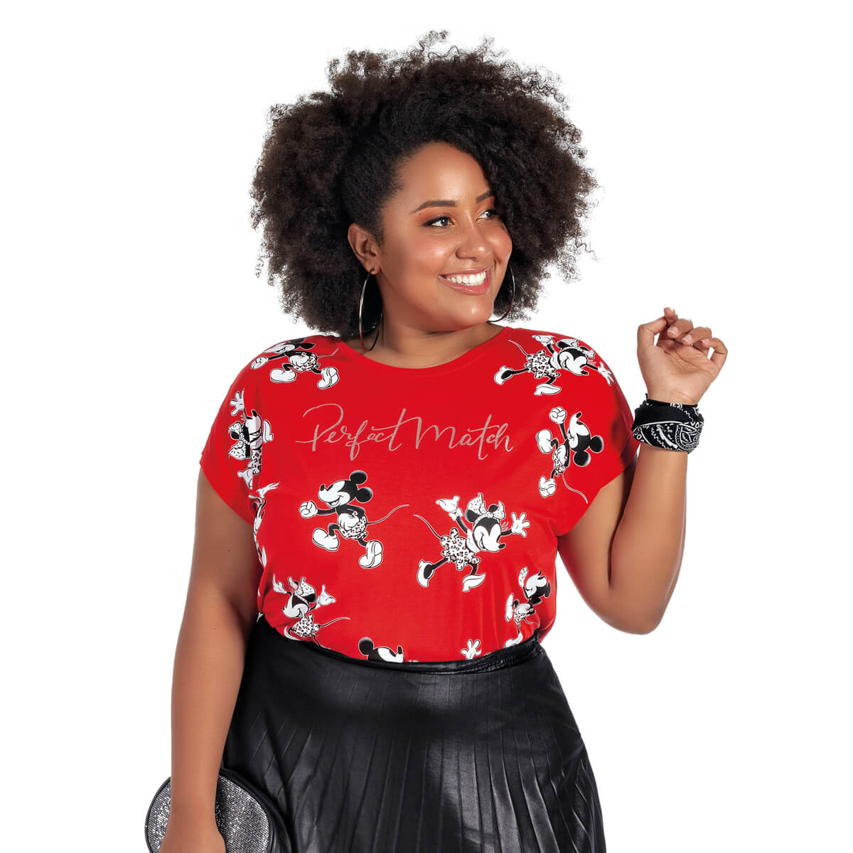Blusa Feminina Viscolycra Plus Size Mickey e Minnie Perfect Match