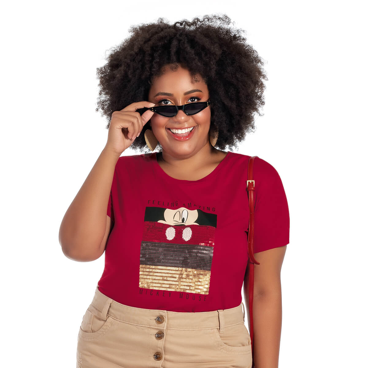 Blusa Feminina Viscolycra Plus Size Mickey Feeling Amazing