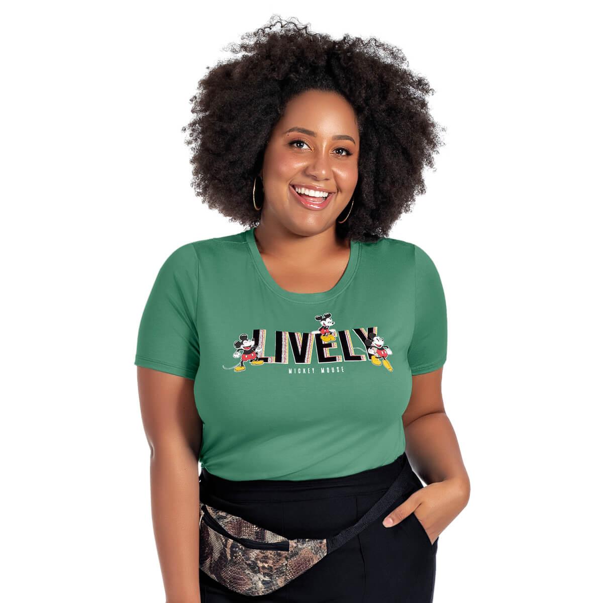 Blusa Feminina Viscolycra Plus Size Mickey Lively