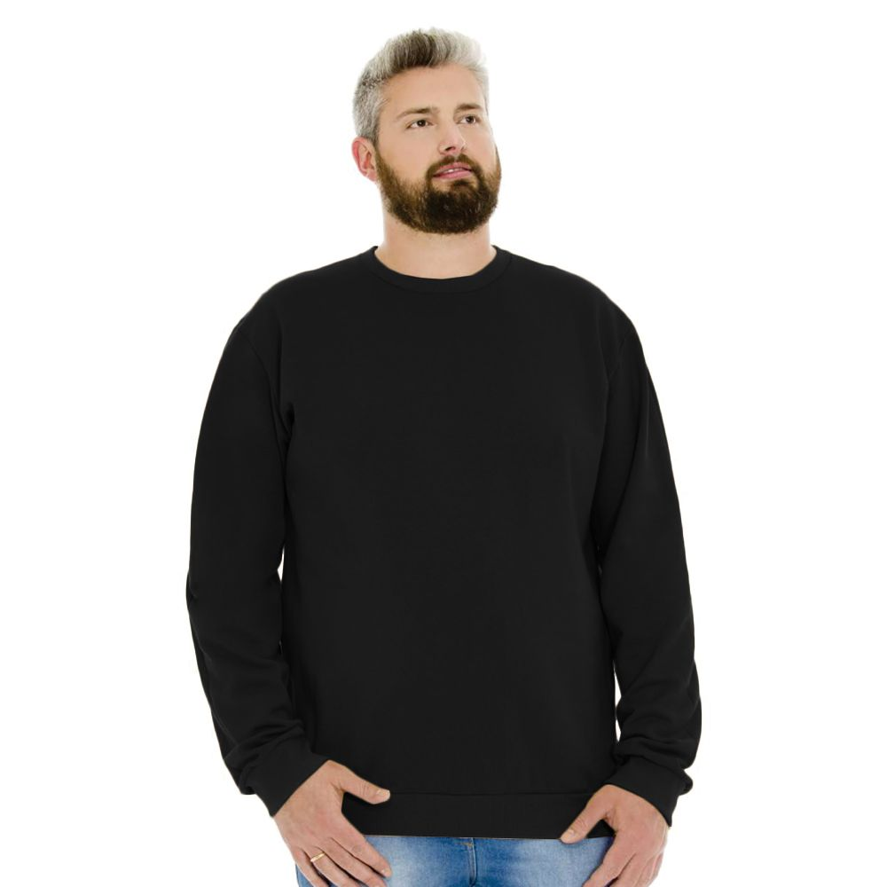 Blusa Masculina Moletom Básica Plus Preto