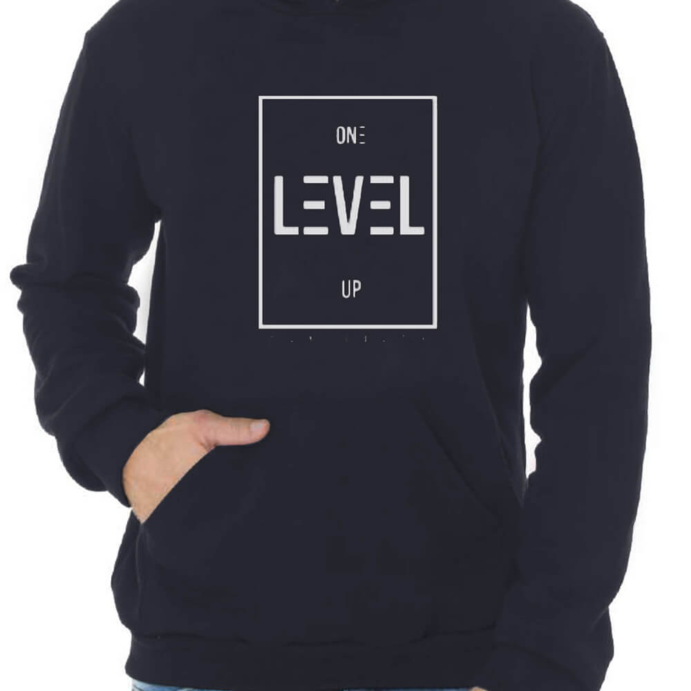 Blusa Masculina Moletom Canguru Estampada Level