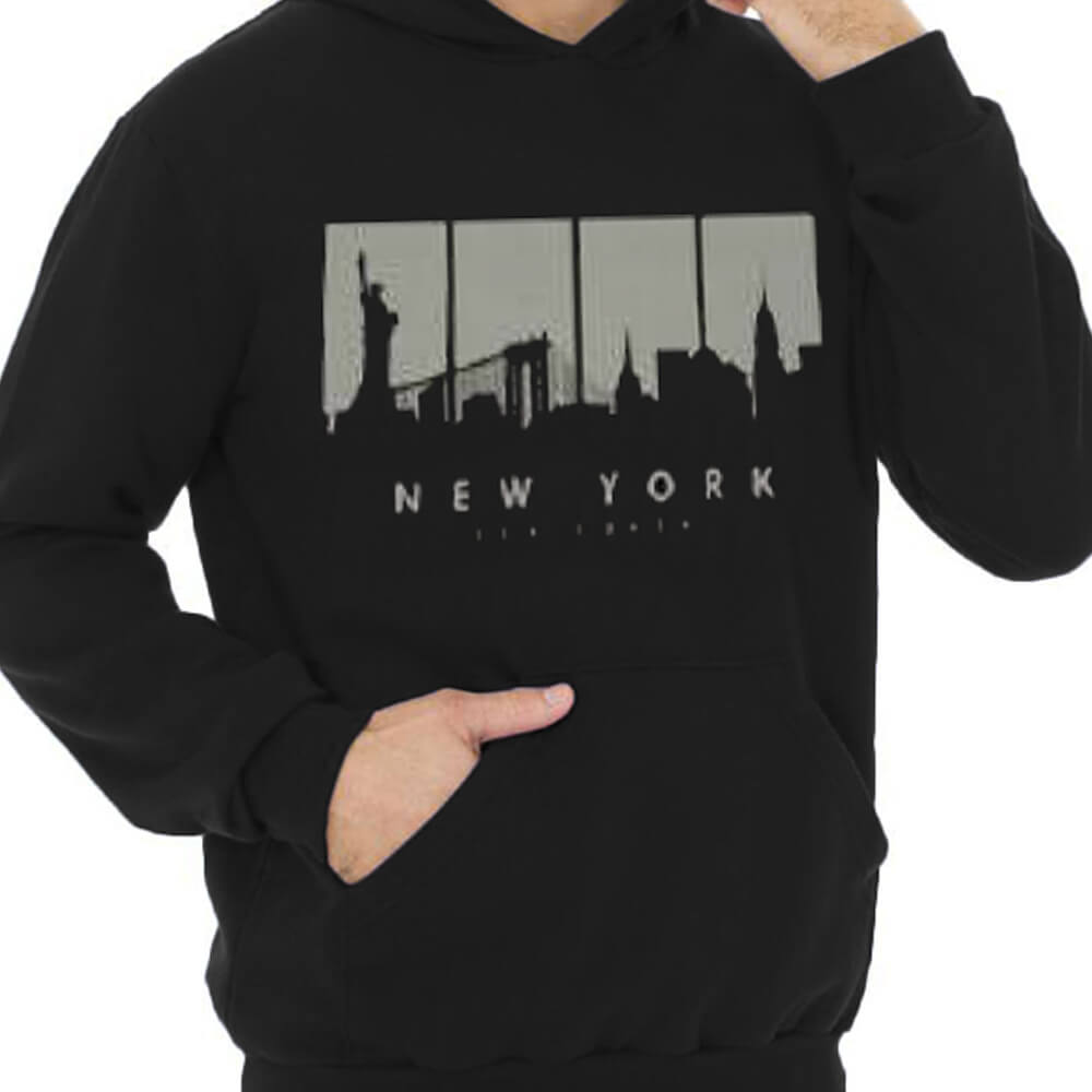 Blusa Masculina Moletom Canguru Estampada New York
