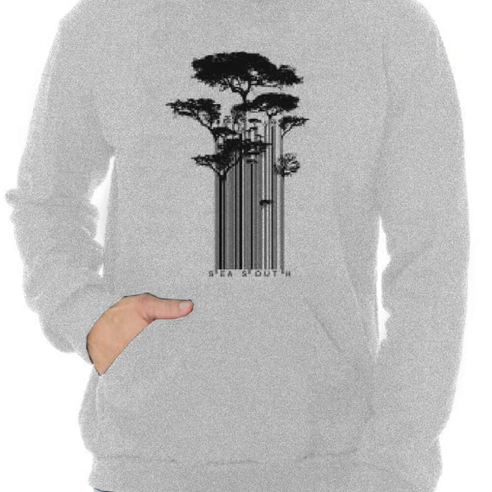 Blusa Masculina Moletom Canguru Estampada Tree