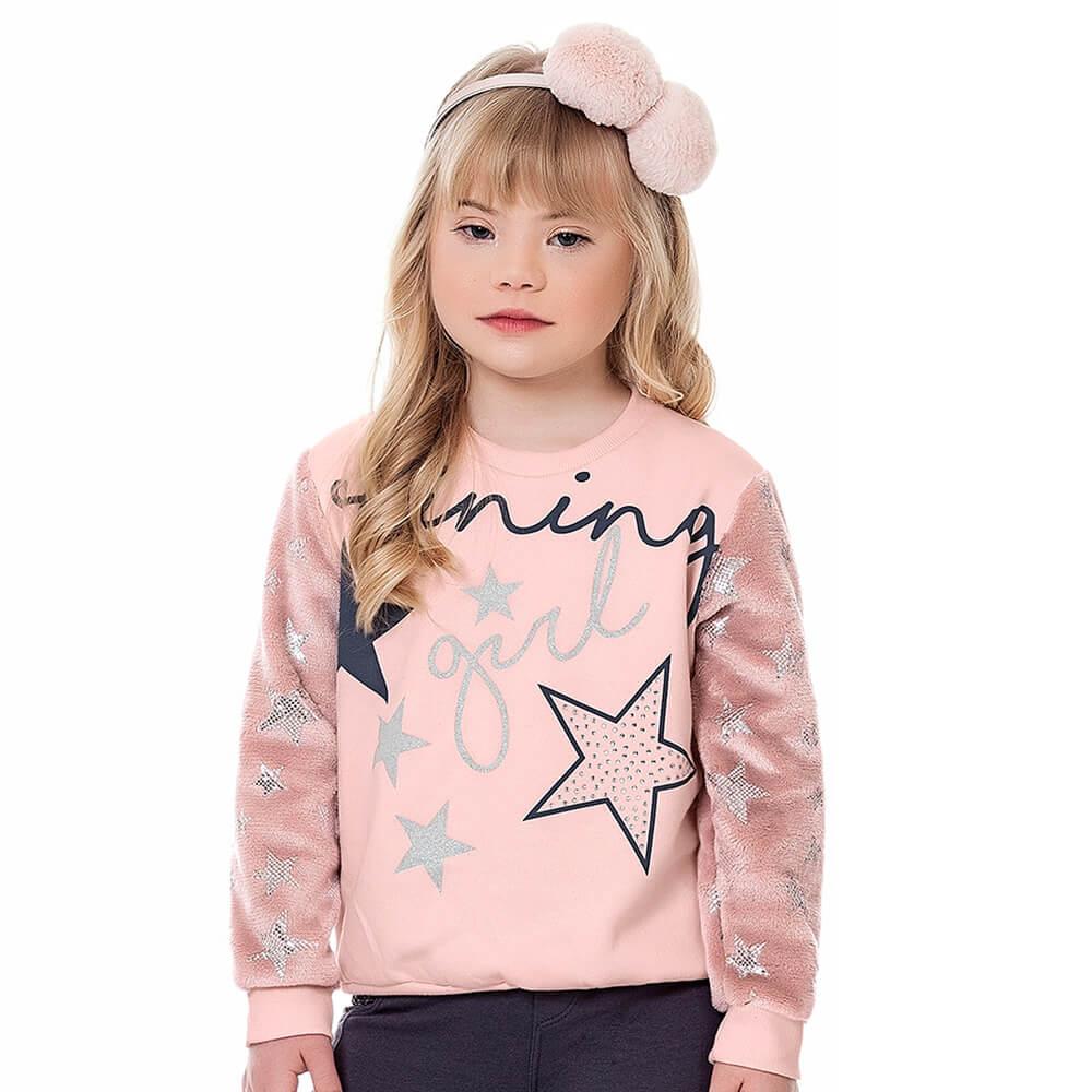 Blusa Moletom Infantil Menina Shining Rosa