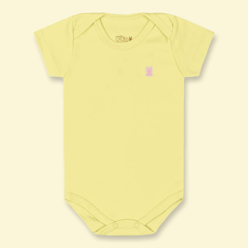 Body Bebê Menina Manga Curta Básico Amarelo