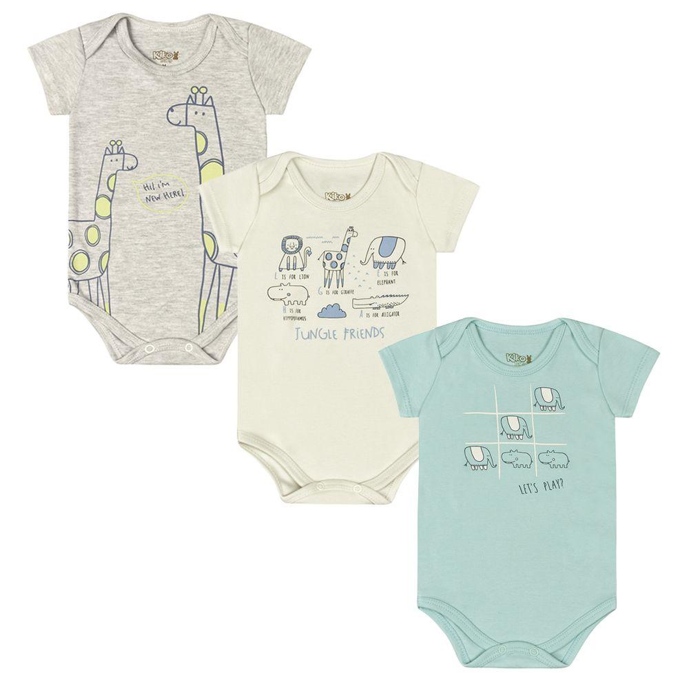 Body Bebê Manga Curta com 3 Peças Girafa
