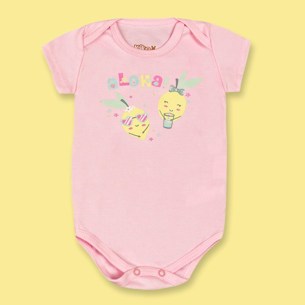 Body Bebê Menina Manga Curta Aloha Rosa