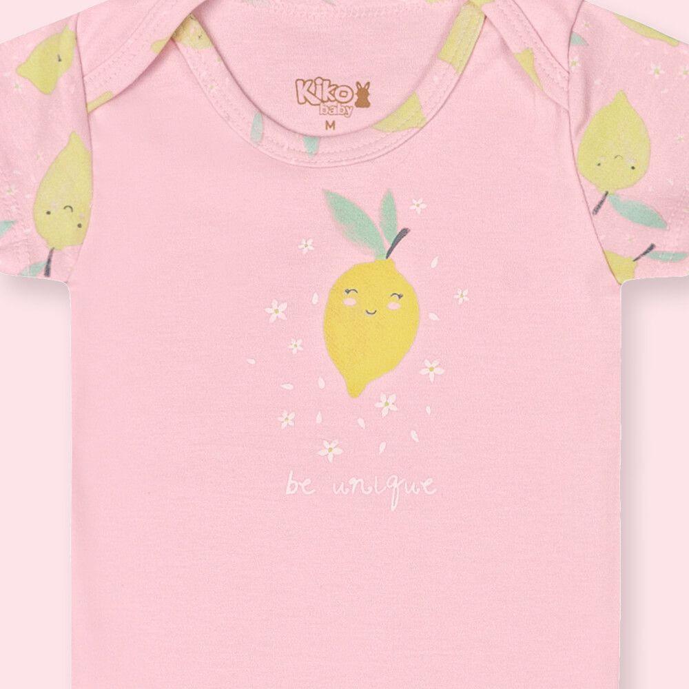 Body Bebê Menina Manga Curta Limãozinho