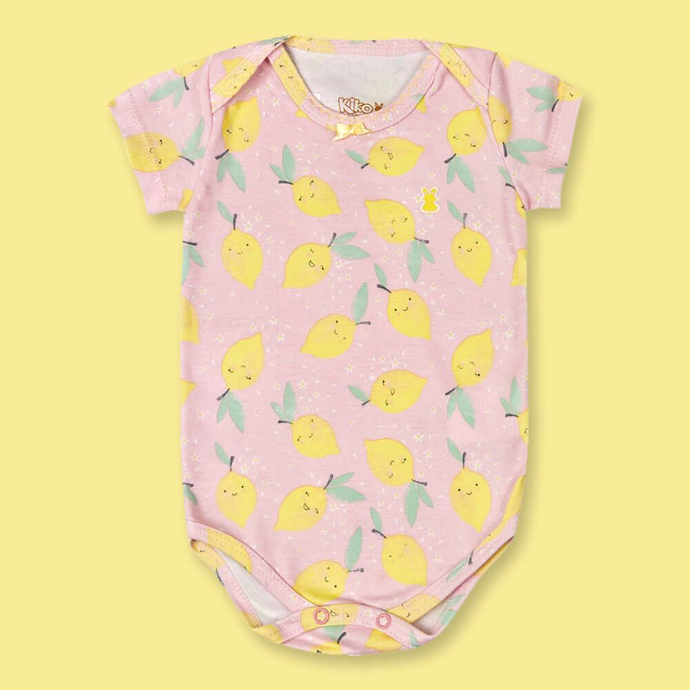 Body Bebê Menina Manga Curta Limãozinho Rosa