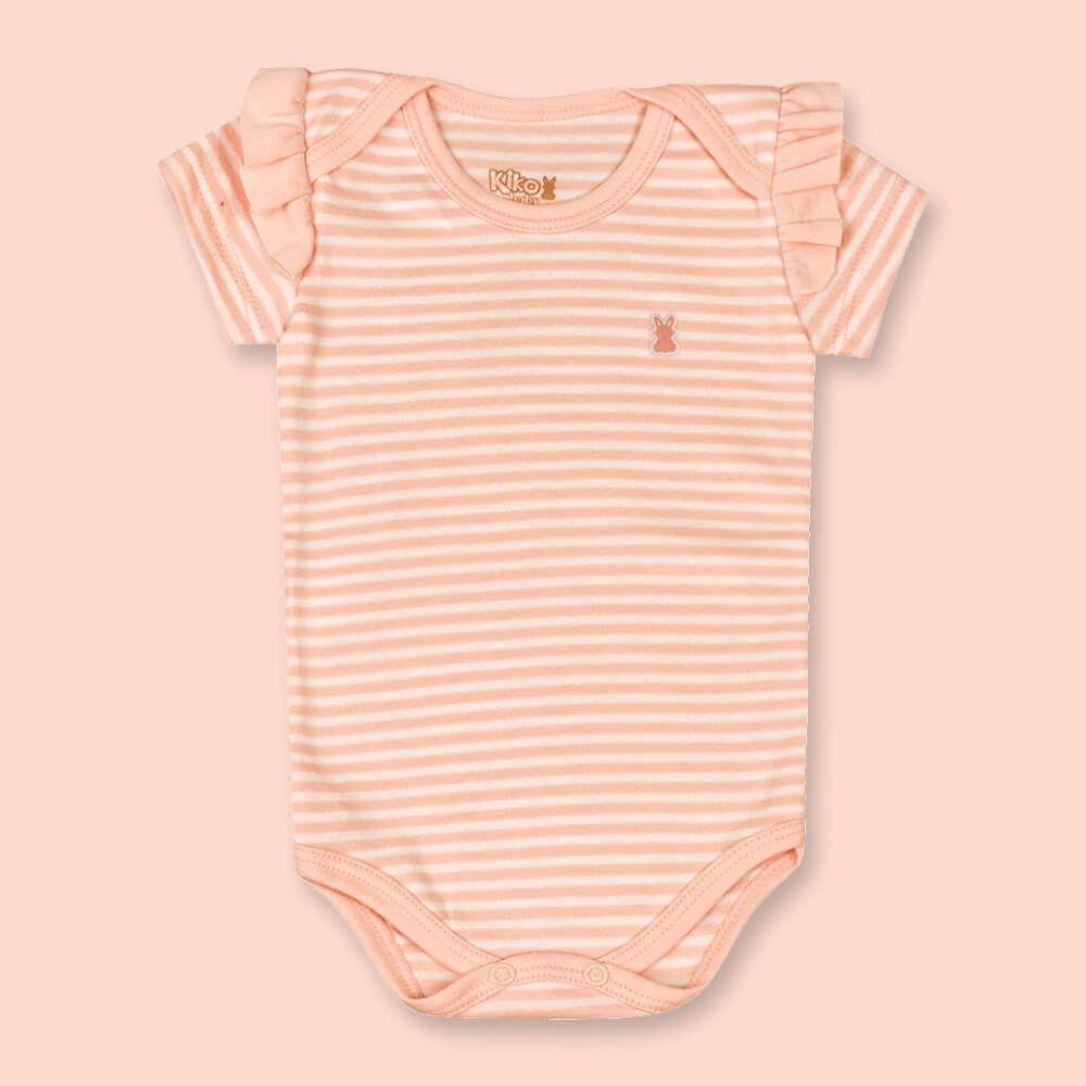 Body Bebê Menina Manga Curta Listradinho Salmão