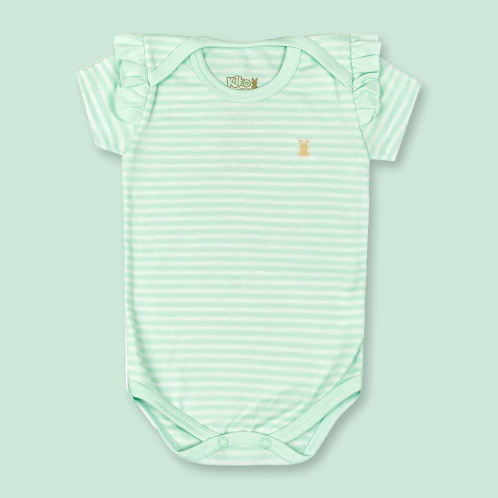 Body Bebê Menina Manga Curta Listradinho Verde