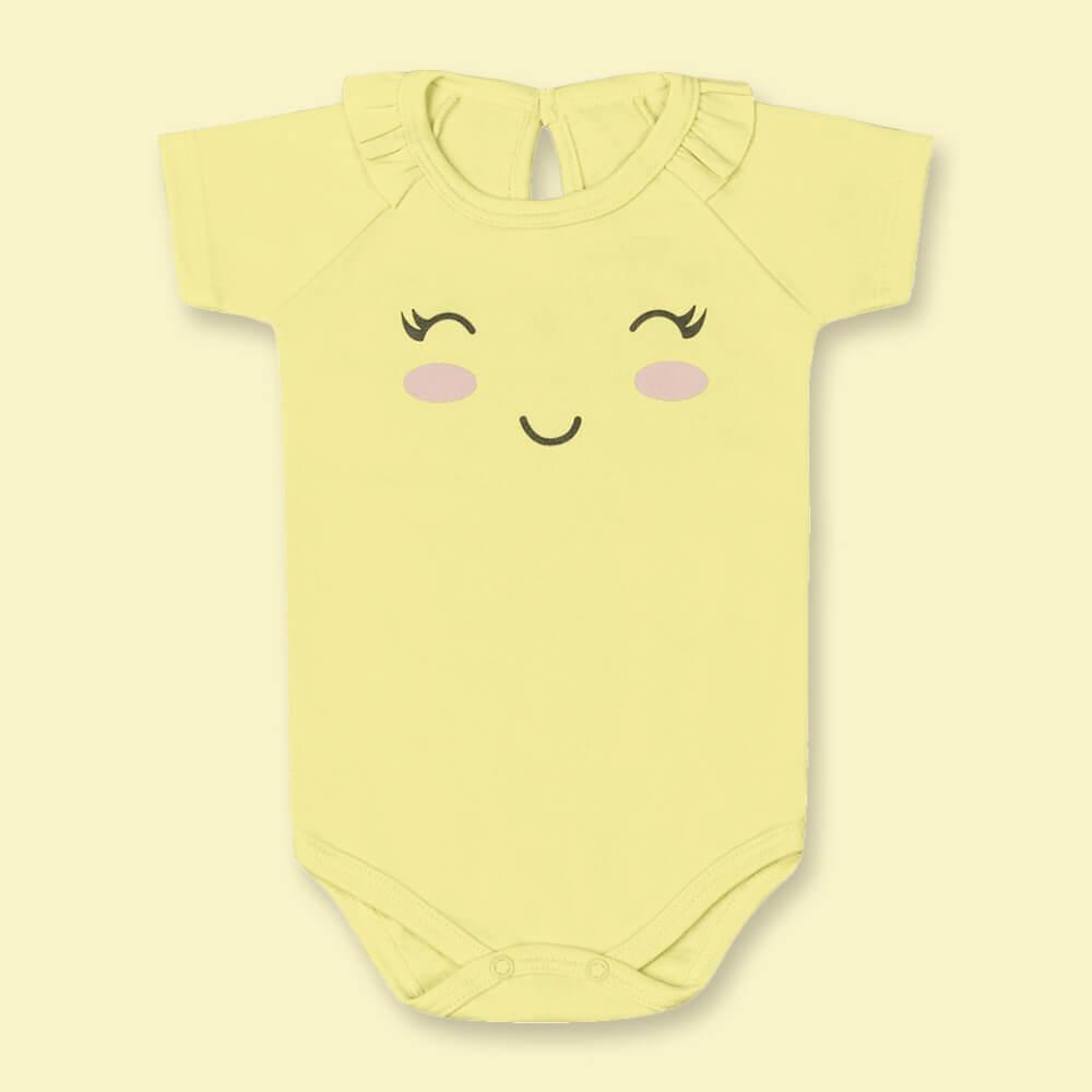 Body Bebê Menina Manga Curta Sorrisinho Amarelo