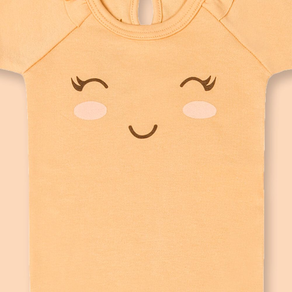 Body Bebê Menina Manga Curta Sorrisinho Laranja