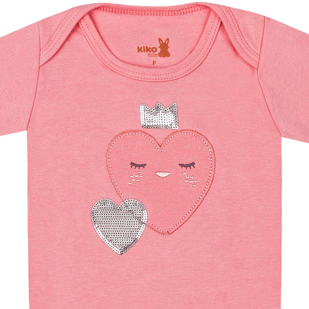 Body Bebê Menina Manga Longa Coraçãozinho Rosa