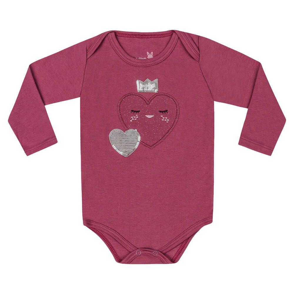 Body Bebê Menina Manga Longa Coraçãozinho Rosa Escuro