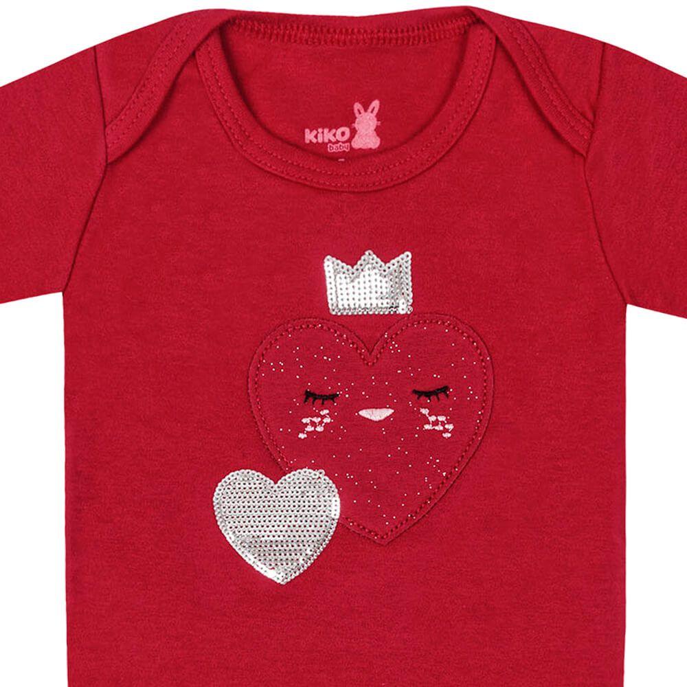 Body Bebê Menina Manga Longa Coraçãozinho Vermelho