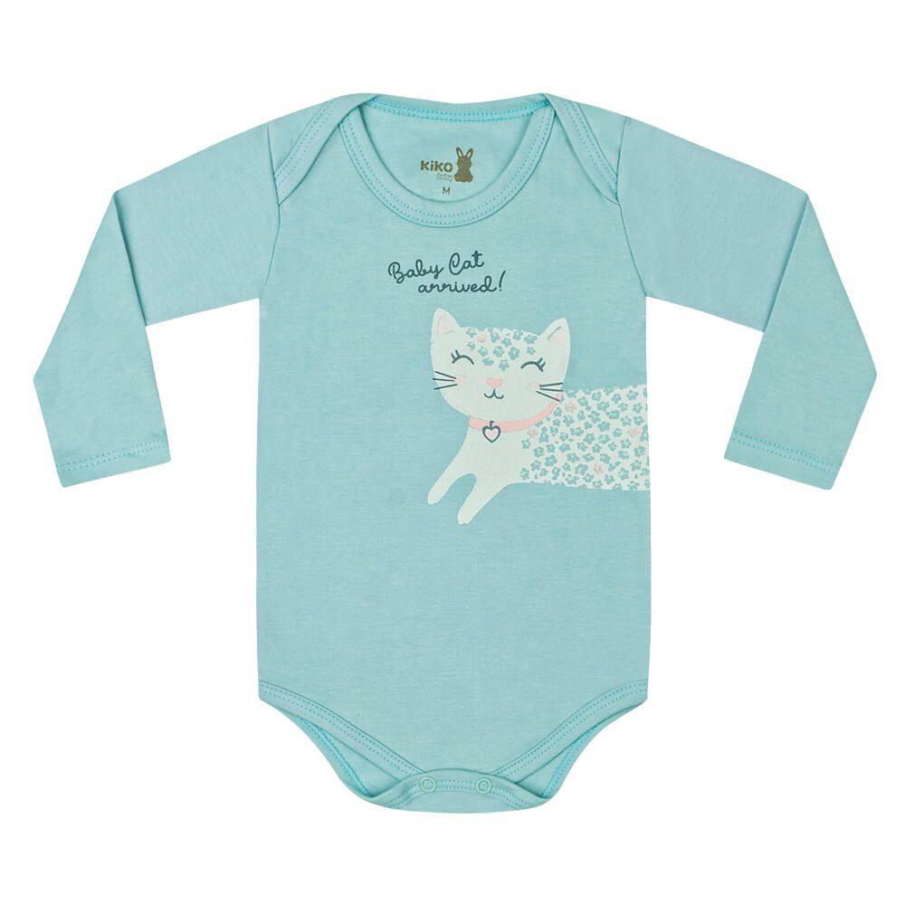 Body Bebê Menina Manga Longa Estampado Baby Cat